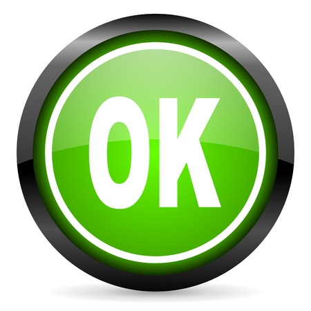 ok green glossy icon on white background Stock Photo - 16736720