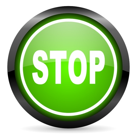 stop green glossy icon on white background Stock Photo - 16736686