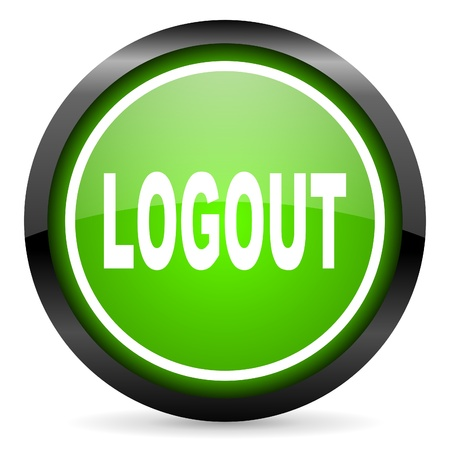 logout green glossy icon on white background Stock Photo - 16736647