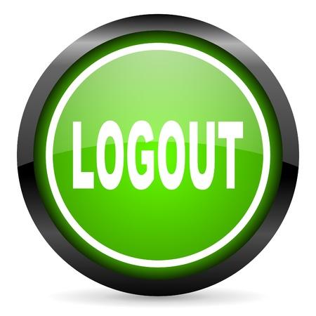 logout green glossy icon on white background Stock Photo - 16736647