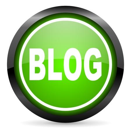 blog green glossy icon on white background photo