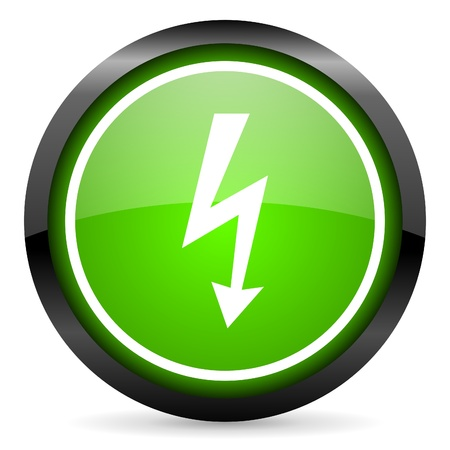 lightning green glossy icon on white background photo