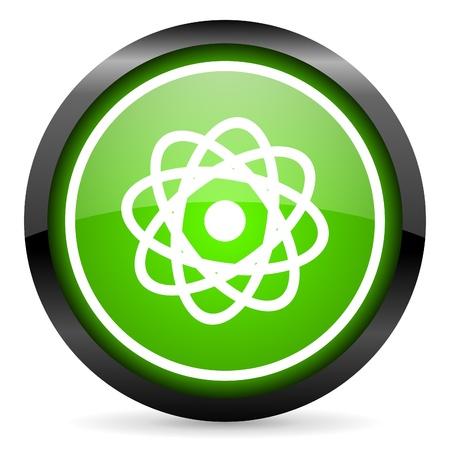 atom green glossy icon on white background Stock Photo - 16736823