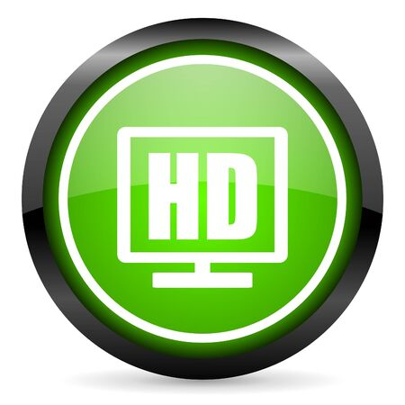 hd display green glossy icon on white background photo