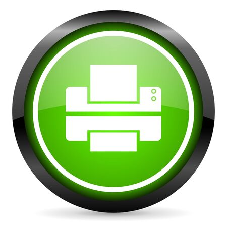 printer green glossy icon on white background photo