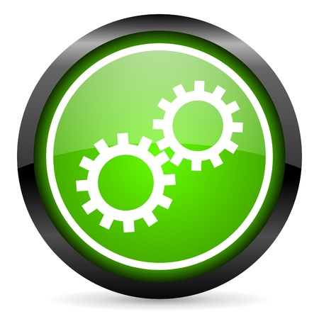 gears green glossy icon on white background photo