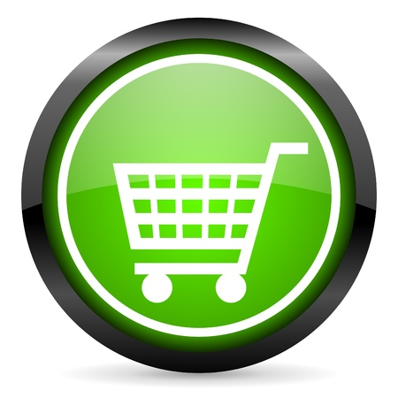 shopping cart green glossy icon on white background Stock Photo - 16736648