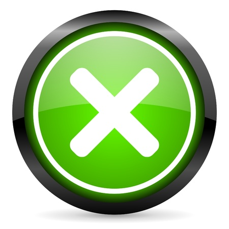 cancel green glossy icon on white background Stock Photo - 16736735