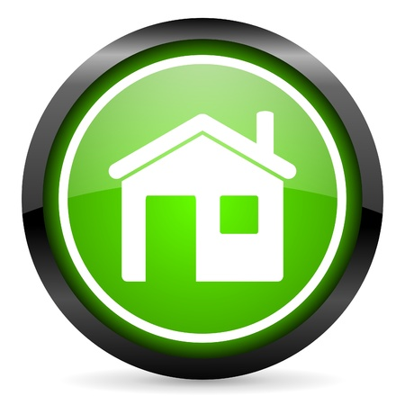 home green glossy icon on white background Stock Photo - 16736730