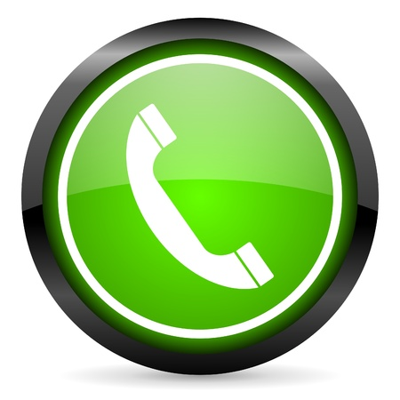phone green glossy icon on white background photo