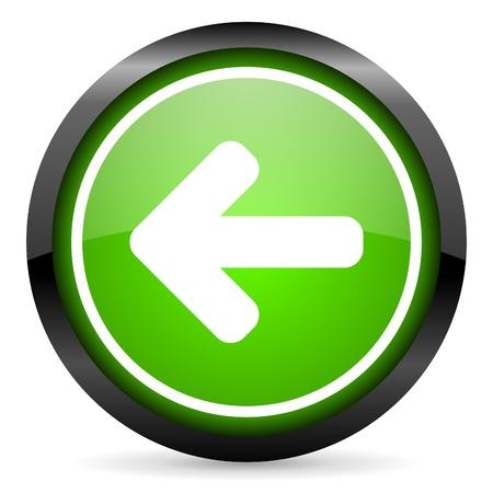 arrow left green glossy icon on white background Stock Photo - 16736746