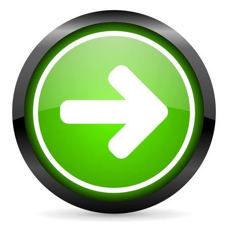 flecha derecha: flecha hacia la derecha icono verde brillante sobre fondo blanco Foto de archivo
