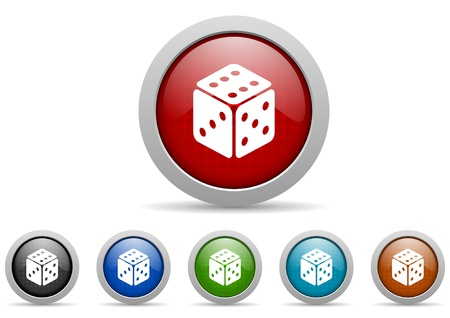 dice glossy icons set on white background photo