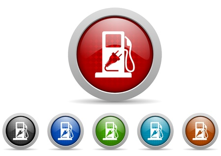 fuel glossy icons set on white background photo