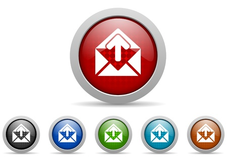 mail glossy icons set on white background photo