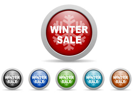 winter sale glossy icons set on white background photo