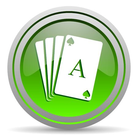 playing cards green glossy icon on white background photo