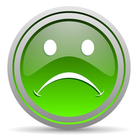 cry green glossy icon on white background Stock Photo - 16778073