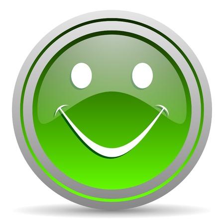smile green glossy icon on white background Stock Photo - 16778101