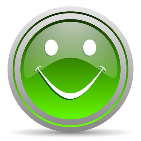 smile green glossy icon on white background Stock Photo - 16778101