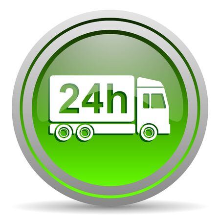 delivery 24h green glossy icon on white background Stock Photo - 16778316