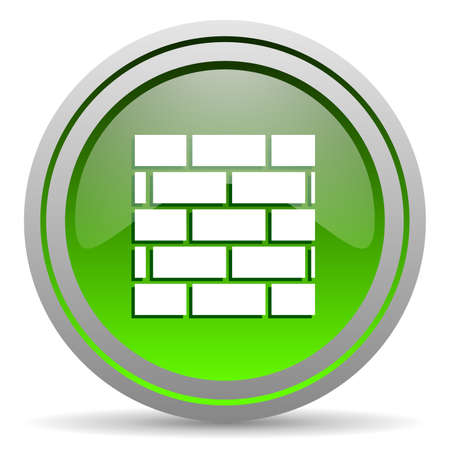 firewall green glossy icon on white background photo