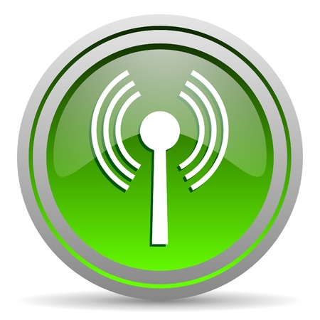movable: wifi green glossy icon on white background Stock Photo