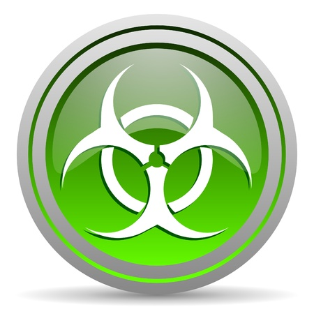 virus green glossy icon on white background photo