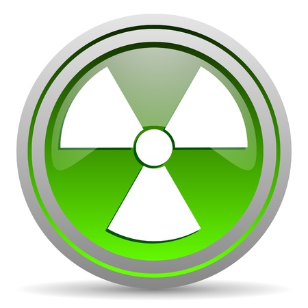 radiation green glossy icon on white background photo