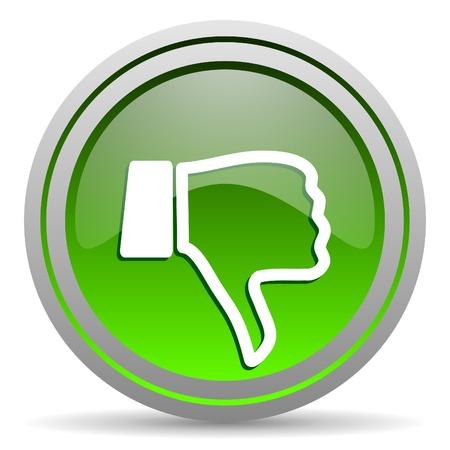 pulgar abajo: el pulgar hacia abajo icono verde brillante sobre fondo blanco