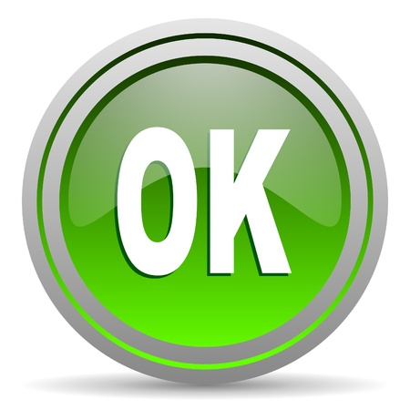 ok green glossy icon on white background Stock Photo - 16777960