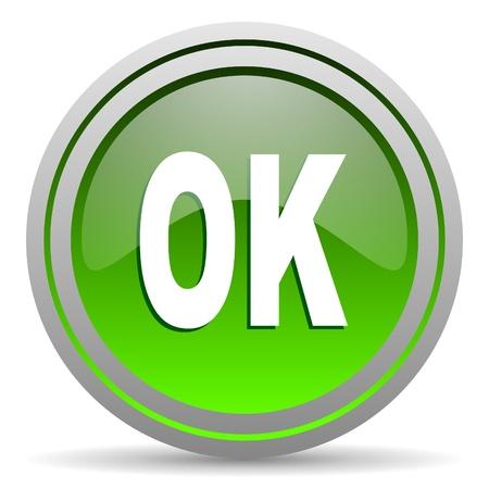 ok green glossy icon on white background Stock Photo - 16777960