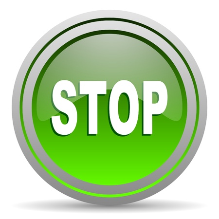 stop green glossy icon on white background Stock Photo - 16778067