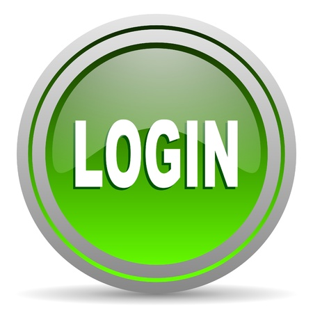 login green glossy icon on white background Stock Photo - 16778081