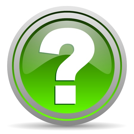 question mark green glossy icon on white background photo