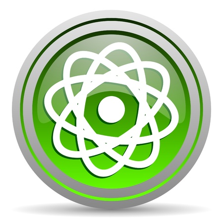 atom green glossy icon on white background photo
