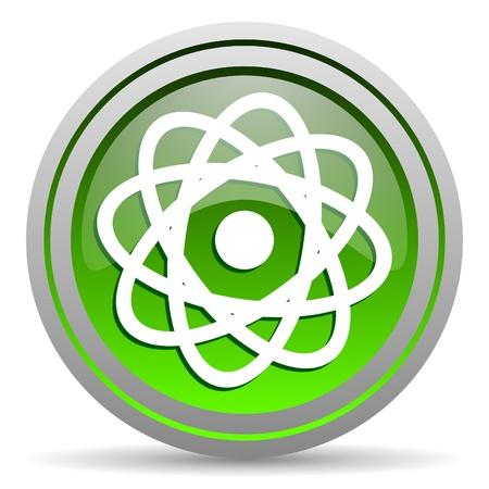 atom green glossy icon on white background Stock Photo - 16778360