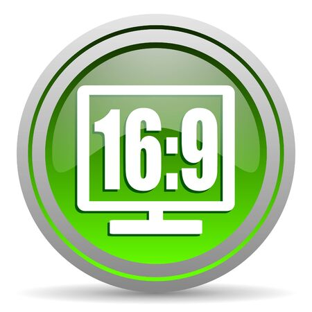 16 9 display green glossy icon on white background photo