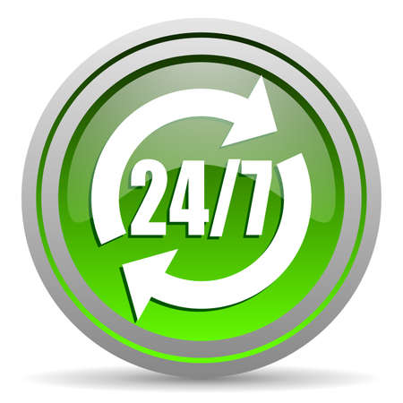24/7 service green glossy icon on white background Stock Photo - 16778237