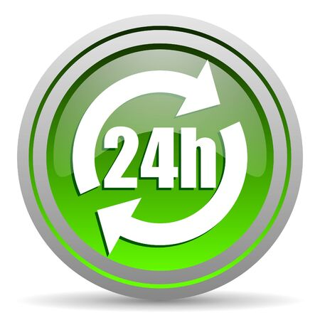 24h green glossy icon on white background photo