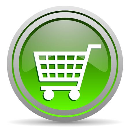 shopping cart green glossy icon on white background photo
