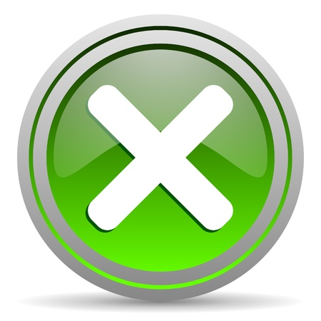 cancel green glossy icon on white background Stock Photo - 16777942
