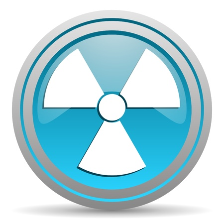 radiation blue glossy icon on white background Stock Photo - 16809694