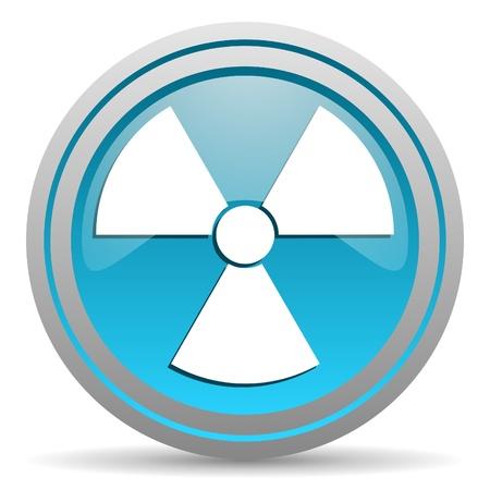 radiation blue glossy icon on white background Stock Photo - 16809694