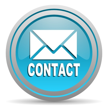 contact blue glossy icon on white background photo