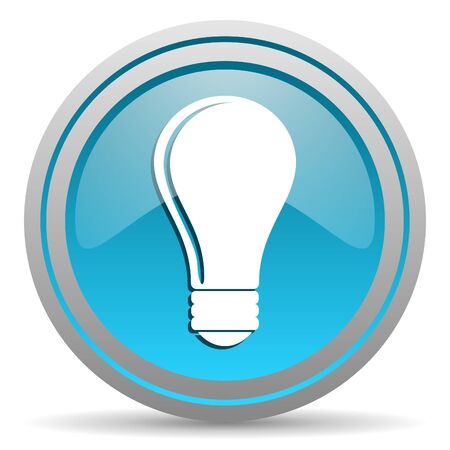 light bulb blue glossy icon on white background photo