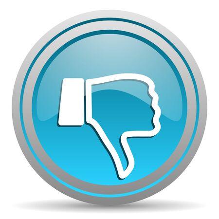pulgar abajo: el pulgar hacia abajo icono azul brillante en el fondo blanco