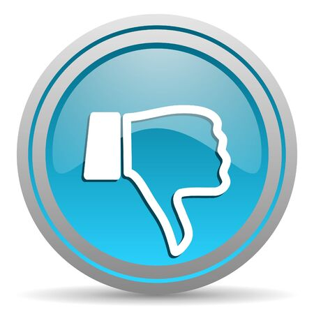 thumb down blue glossy icon on white background photo