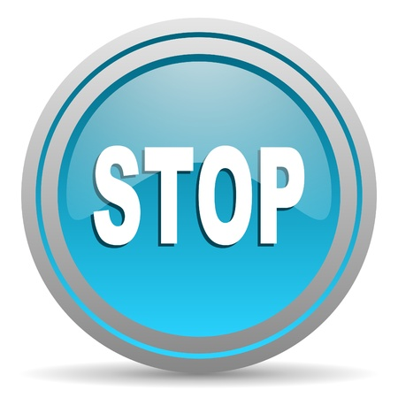 stop blue glossy icon on white background Stock Photo - 16809835