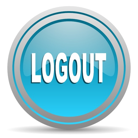 logout blue glossy icon on white background Stock Photo - 16809932